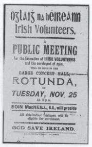 Advertisement of first meeting to set up the Irish Volunteers.