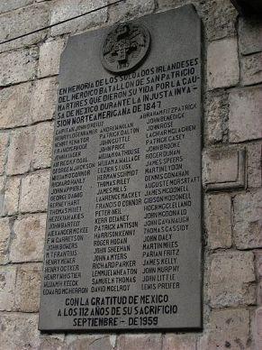 Commemorative plaque in San Jacinto Plaza, Mexico City (Picture credit: http://mexicotrucker.com/2008/03/17/mexico-honors-irish-american-saint-patricks-brigade-san-patricios)