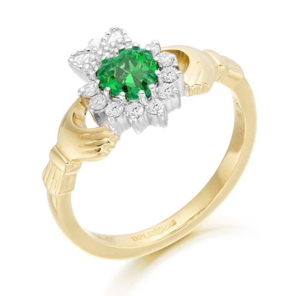 18ct Gold Emerald and Diamond Claddagh Ring - CLDIA6