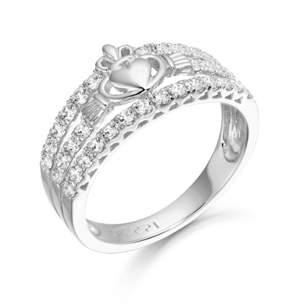 White Gold Claddagh Ring - CL31W