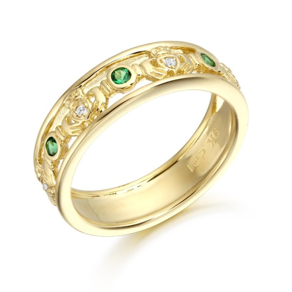 Claddagh Wedding Ring studded with CZ Emeralds - CL30