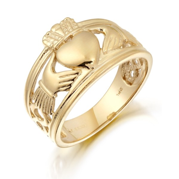 Gold Gents Claddagh Ring combined with Celtic Knot Design - 137A