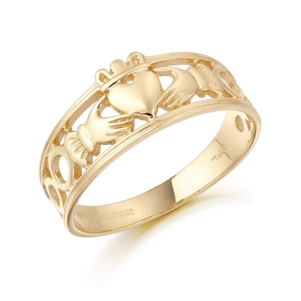 9ct Gold Ladies Claddagh Ring combined with Celtic Knot Design - CL19