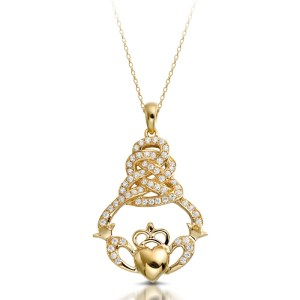 9ct Gold Claddagh Pendant-P017