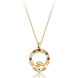 9ct Gold Claddagh Pendant-P014MS