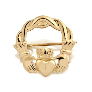 9ct Gold Claddagh Brooch-BR1