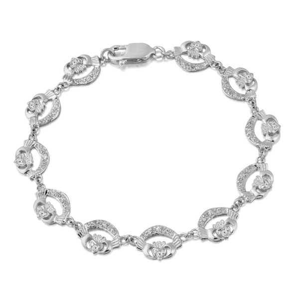 9ct White Gold Claddagh Bracelet studded with CZ stone setting - CLB4CZW