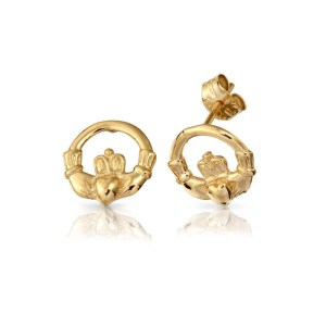 9ct Gold Claddagh Earrings-EL1