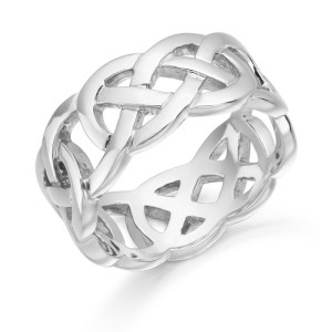 White Gold Celtic Wedding Ring-1519W