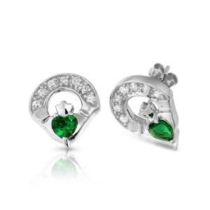 Silver Claddagh Earrings-SE187G