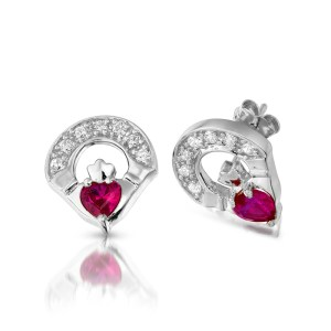 Silver Claddagh Earrings-SE187R