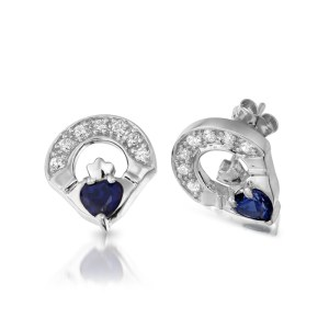 Silver Claddagh Earrings-SE187S