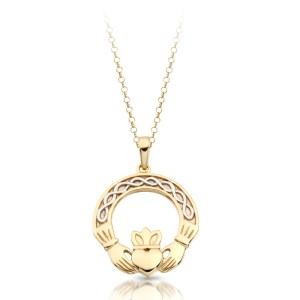 9 Carat Yellow Gold Claddagh Pendant-P025