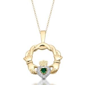 9 Carat Gold Claddagh Pendant-P133IJ