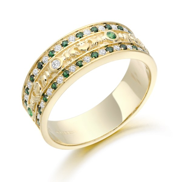 Claddagh Wedding Ring studded with repeat pattern of Emerald and CZ in Micro Pavé stone setting - CL17GG