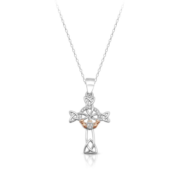 Silver Claddagh Cross with Celtic Knot Design