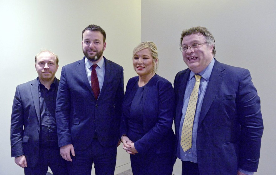 From left, Green Party leader Steven Agnew, SDLP leader Colum Eastwood, Sinn Féin vice-president Michelle O'Neill and Alliance Party MLA Stephen Farry, after a press conference on Brexit at the Foreign Press Association in central London PICTURE: Nick Ansell/PA