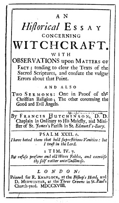 An Historical Essay concerning Witchcraft | Irish Philosophy