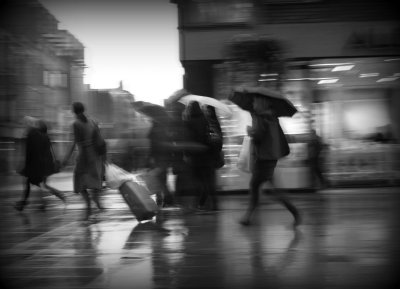 At the end of a downpour on a Dublin street