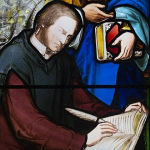 Depiction of George Boole in stained glass, Aula Maxima, UCC.