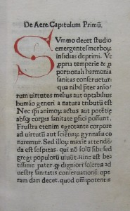 Page from De conservatione sanitatis (Rome, 1475) Courtesy the Edward Worth Library