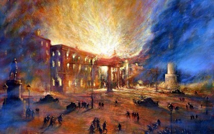 A painting depicting the GPO on fire in 1916.
