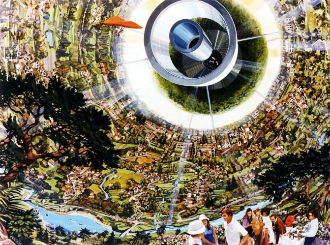 Interior of Bernal Sphere including human powered flight. Art work: Rick Guidice courtesy NASA Ames Research Center