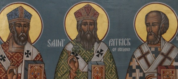 Icon of St Patrick of Ireland standing between St Ambrose and St Gregory