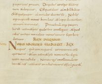 Manuscript of De XII, showing section IX Rex Iniquus