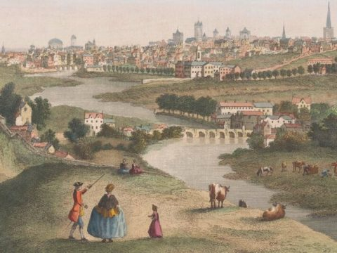 A family stand on a grassy mount, grazed by cattle, with the river Liffey flowing in the valley below. On the other side, Dublin stretches, look at 18th century Dublin, a low city dotted with steeples.