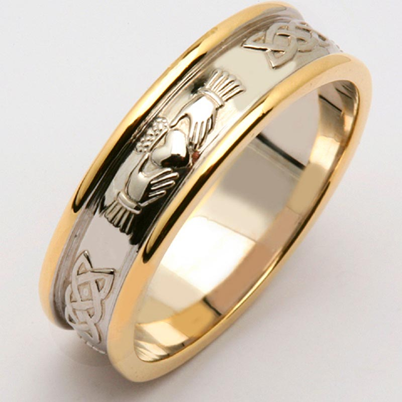 Irish Wedding Ring Mens 14k Two Tone Yellow Amp White