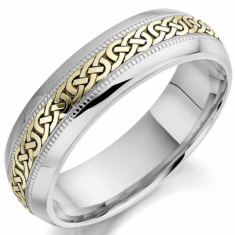 Irish Wedding Ring Mens White And Yellow Gold Celtic