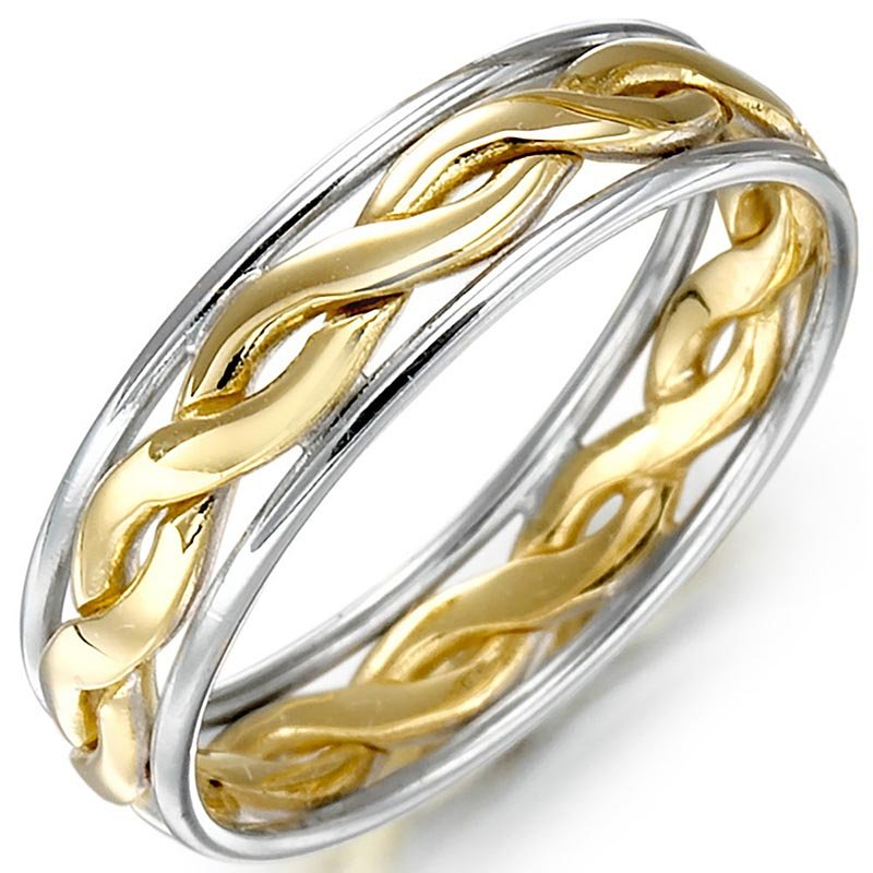 Irish Wedding Ring Mens Gold Two Tone Celtic Knot