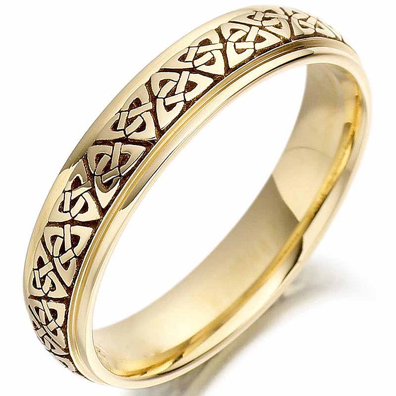 Irish Wedding Ring Ladies Gold Trinity Knot Celtic