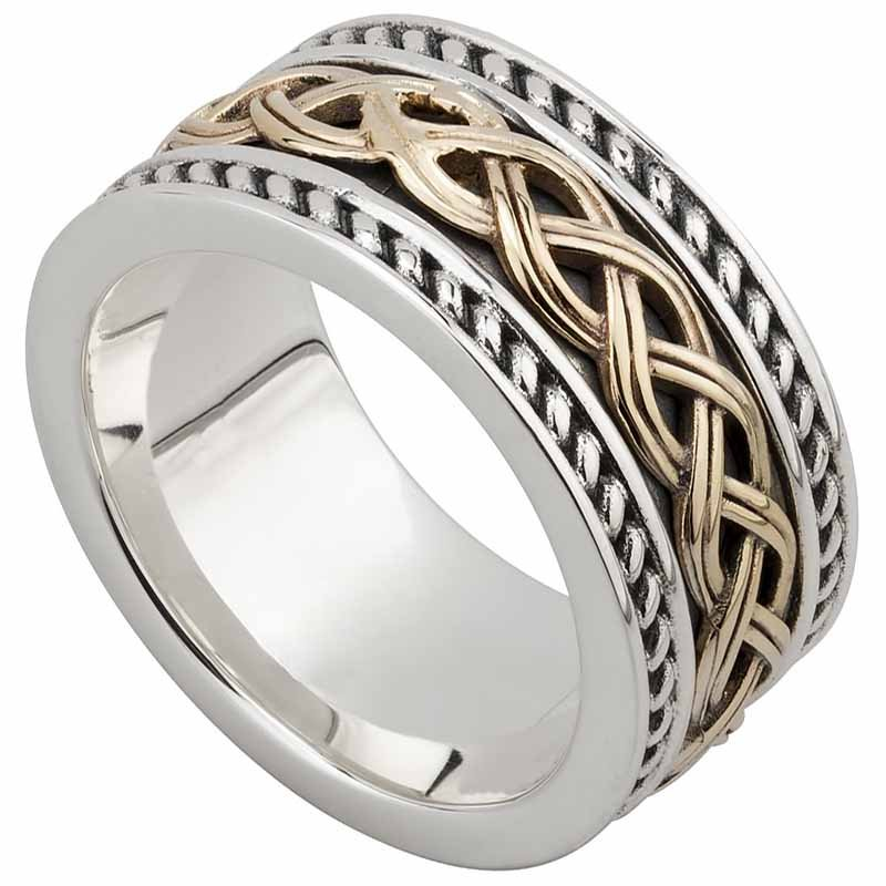 Celtic Ring Mens Sterling Silver And 10k Gold Celtic