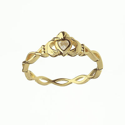 Irish Ring CZ Claddagh Ring With Twisted Band At