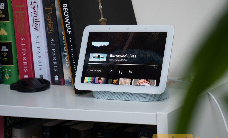Google Nest Hub Gen 2 on a bookshelf