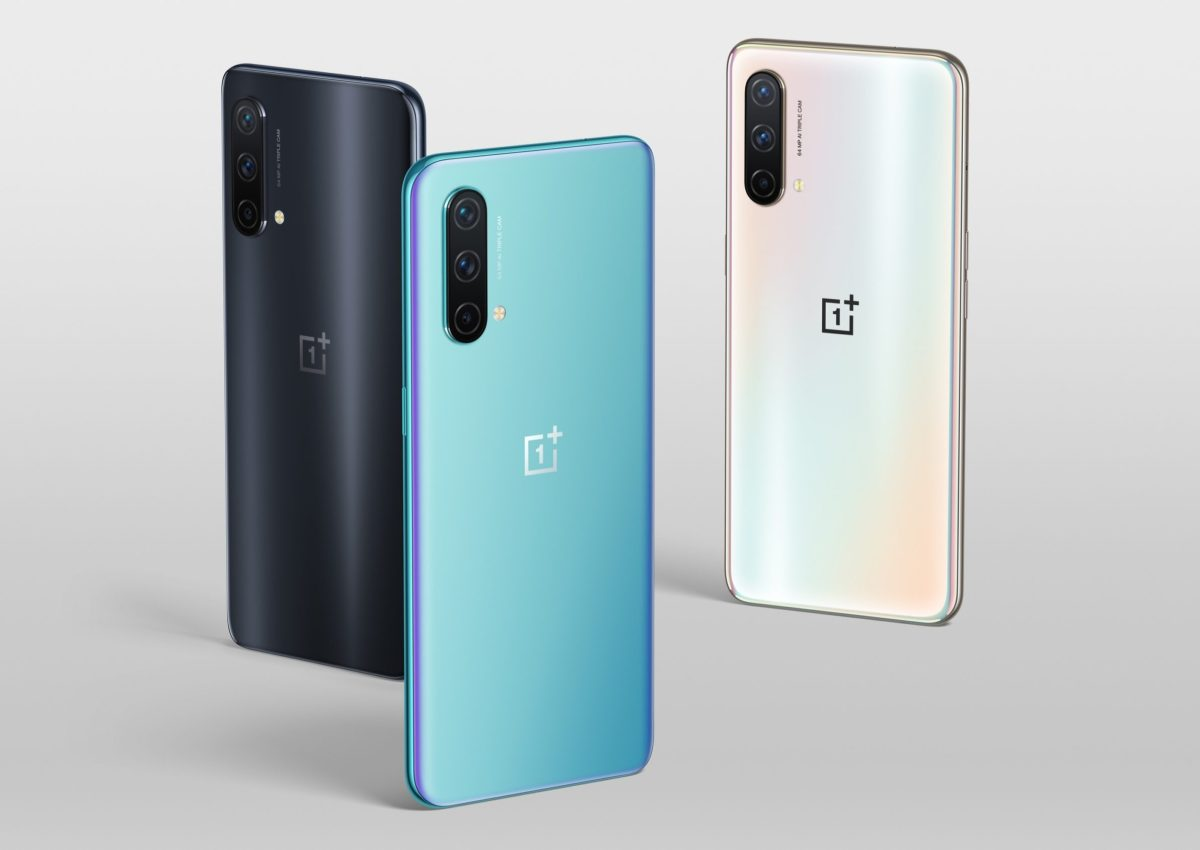 The OnePlus Nord CE 5G in three colours - black, blue, and white