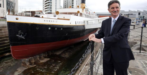 Nomadic Charitable Trust chairman Denis Rooney alongside the SS Nomadic in Belfast, where it has been opened to the public following a £9 million refurbishment. Photograph: Paul Faith/PA Wire