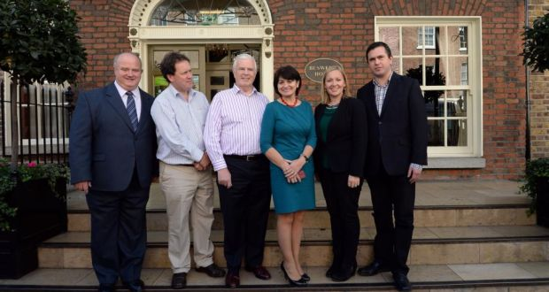 The Reform Alliance photographed outside Buswells Hotel this afternoon. From left: Billy Timmons, Paul Bradford, Peter Matthews, Fidelma Healy Eames, Lucinda Creighton and Terence Flanagan. Photograph: Brenda Fitzsimons/The Irish Times