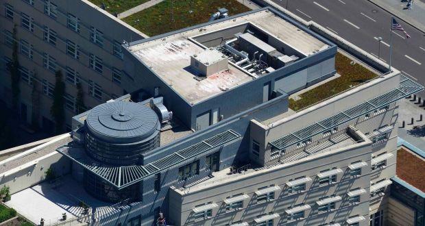 An aerial view taken shows cleaning works at the US embassy in Berlin. Photograph: Reuters/Euroluftbild.de/Robert Grahn