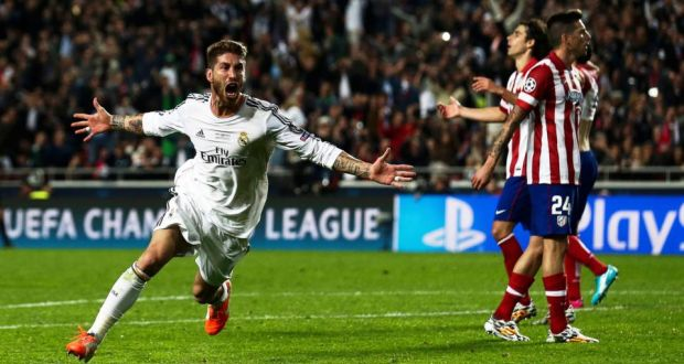 Sergio Ramos celebrates following his stoppage-time equalizer in the Champions League Final