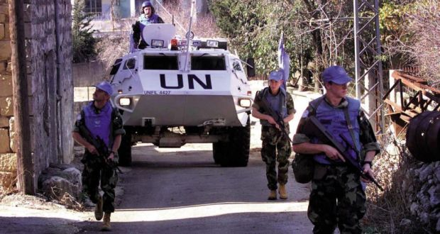 Irish peacekeepers on patrol  in Lebanon. The British army does not have  experience in such operations. Photograph: Defence Forces Military Archives
