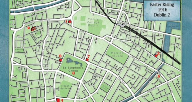 1916 Rising  Dublin 2 street map Key locations  the eight sites in Dublin 2 are marked in red  Map