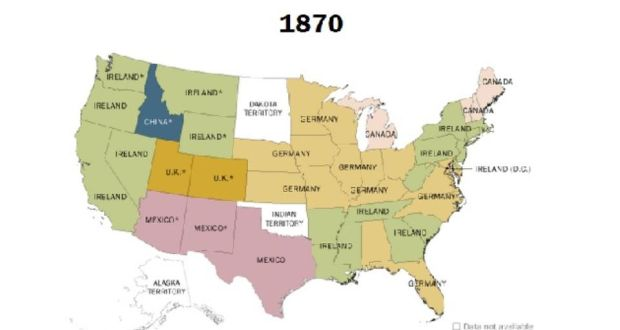 The Pew Research Center has used US Census Bureau data to create a series of maps showing the top country of origin for for foreign-born migrants in the US by state and year, 1850–2013. In 1870, 1.8 million Irish-born people were living in the US. Image: Pew Research Center