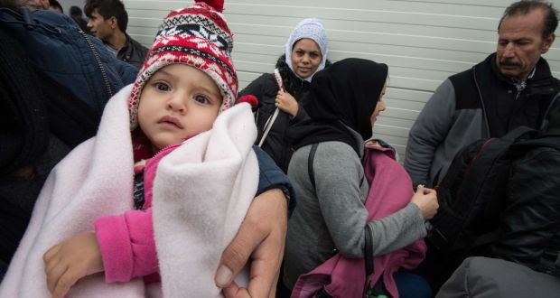 "Asylum-seekers from Iraq  await registration at a  centre in Giessen, western Germany,  December 2nd, 2015. The International Protection Bill, currently before the Seanad,  could see asylum-seekers being swiftly deported from Ireland after a ""cursory examination of their applications"", according to Sue Conlon of the Irish Refugee Council.  File photograph: Boris Roessler/AFP/Getty Images"