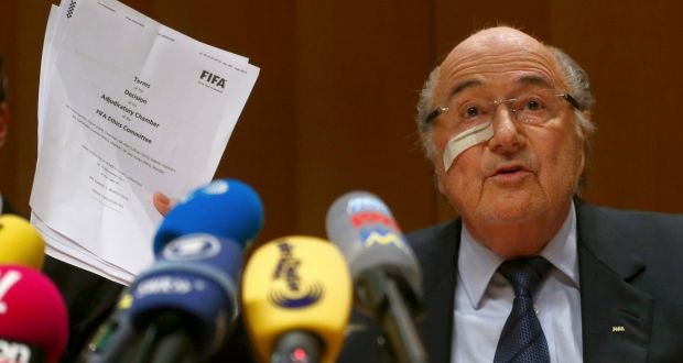 Fifa's suspended president Sepp Blatter holds a news conference in Zurich, Switzerland on Monday. Photograph: Arnd Wiegmann/Reuters