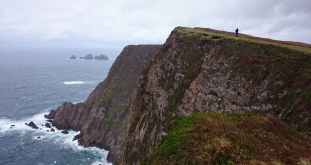 The cropped grass cliff-top provided a series of safe vantage points from which to peer down into inlets of churning grey and white ocean.