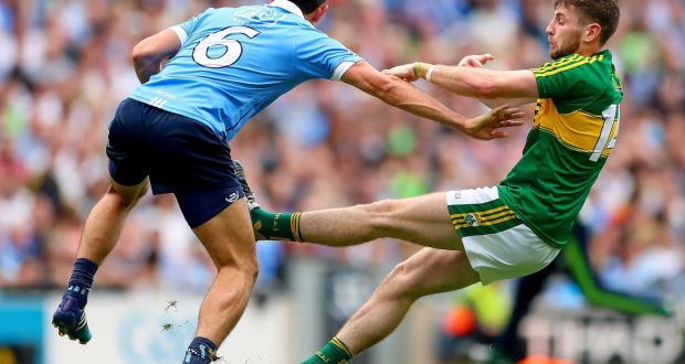 Cian O'Sullivan challenges Kerry's Paul Geaney. The message was clear – score your point but expect to eat a bit of dirt as well. I love to see that in a player. Photograph: James Crombie/Inpho