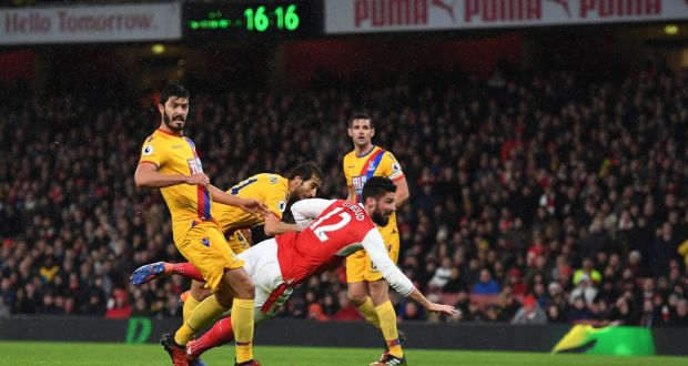 Olivier Giroud produces a spectacular sole-of-the boot volley to open the scoring against Crystal Palace at the Emirates Stadium. Photograph: Shaun Botterill/Getty Images
